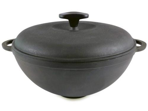 Чугунная кастрюля вок 5,5 литров с крышкой